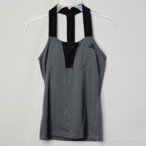 Adidas workout T back strap built in bra tank top